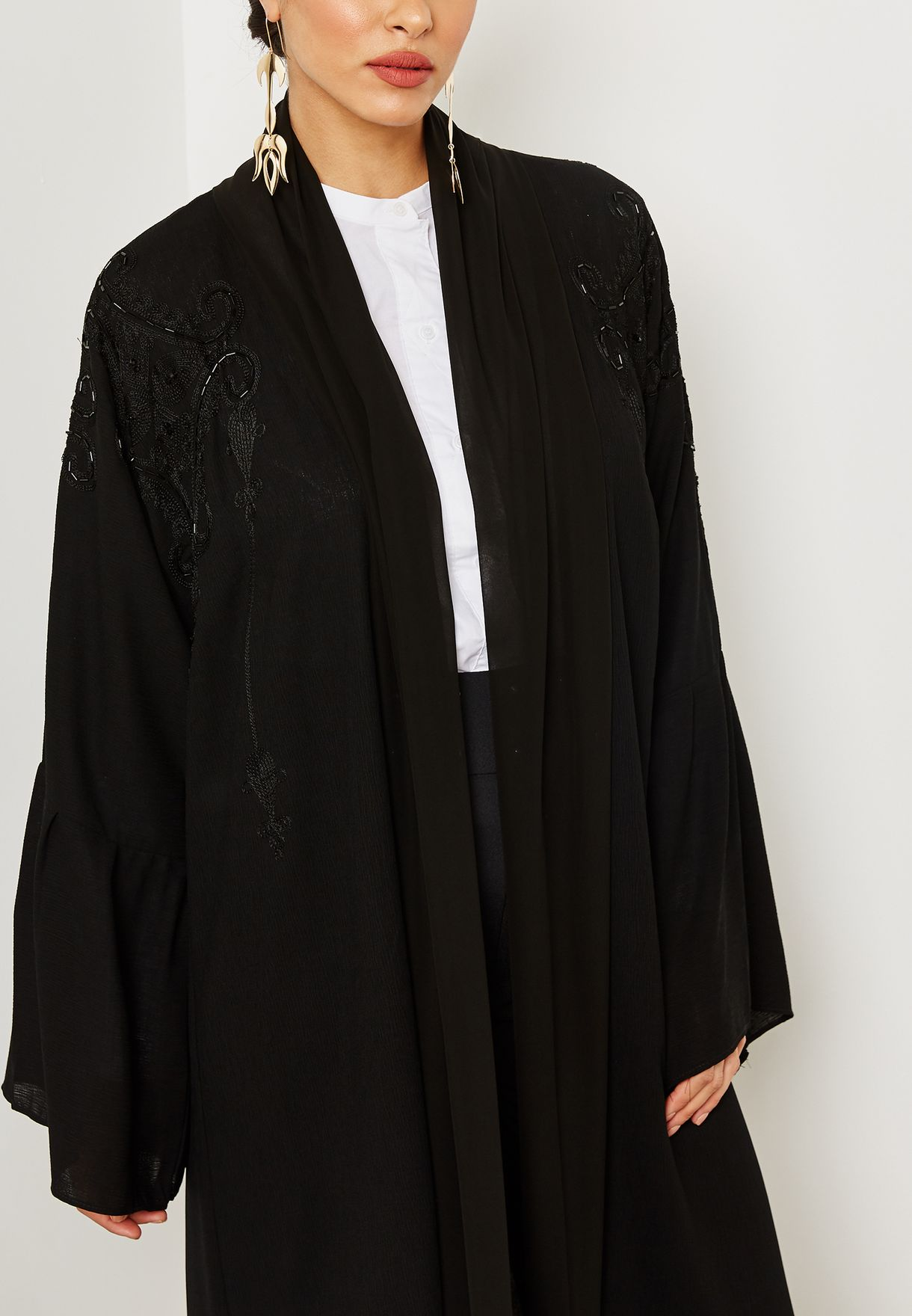 Embroidered Pleated Sleeves Abaya
