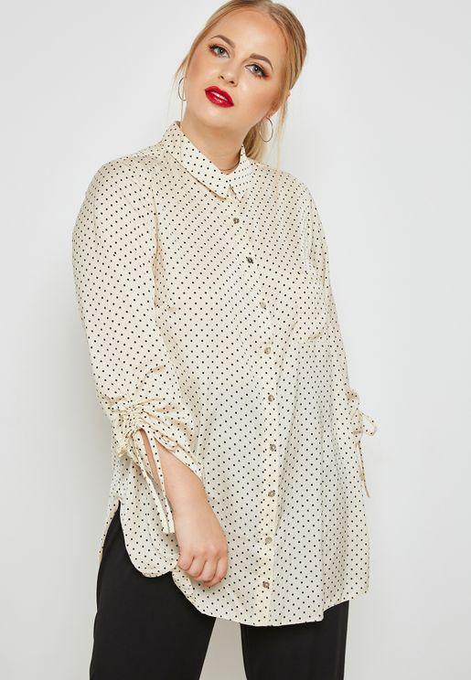 Tie Sleeve Polka Dot Shirt