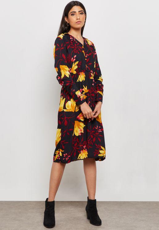 Floral Print Button Detail Dress