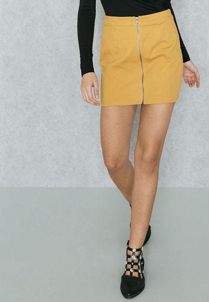 Zip Front Denim Skirt