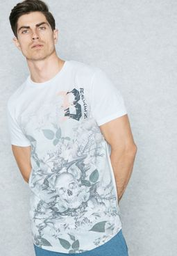 Demortal  Flower Print T-Shirt