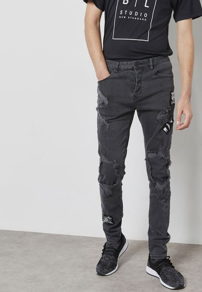 Patched Skinny Fit Jeans