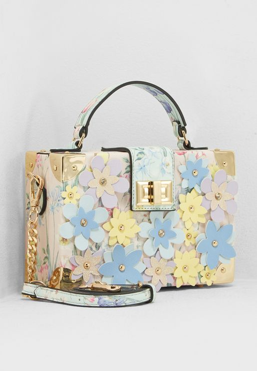 3D Floral Box Top Handle Satchel