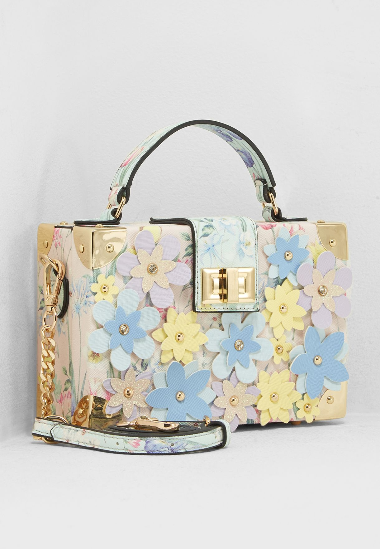 3D Floral Box Top Handle Satchel
