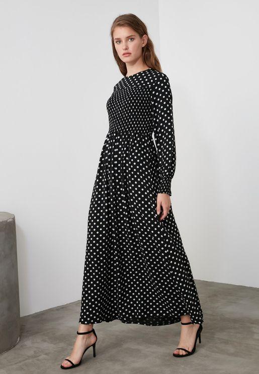 Shirred Polka Dot Dress