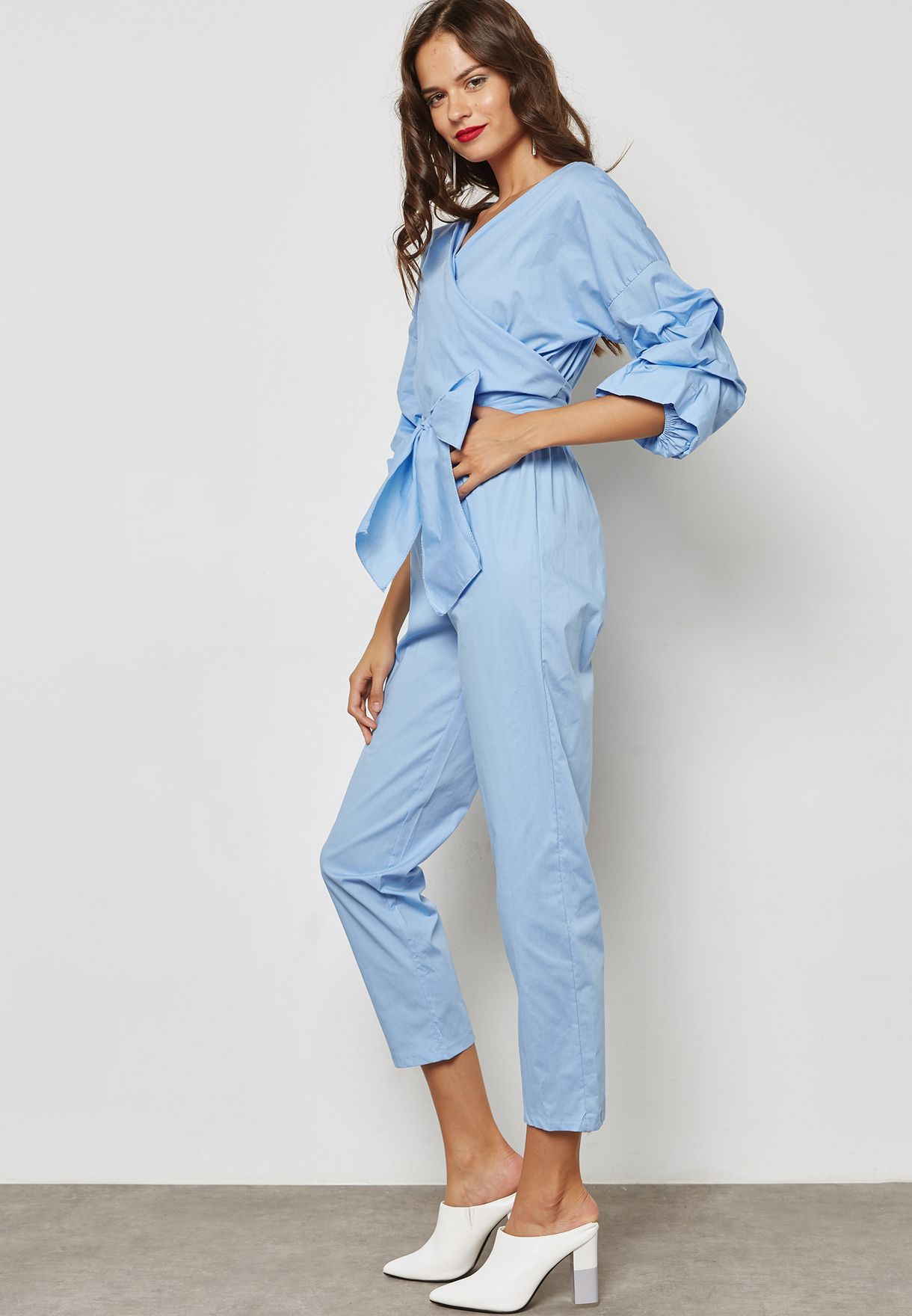 920f591ec5c Shop Ginger blue Puffed Sleeve Self Tie Cropped Jumpsuit 17113-C for ...
