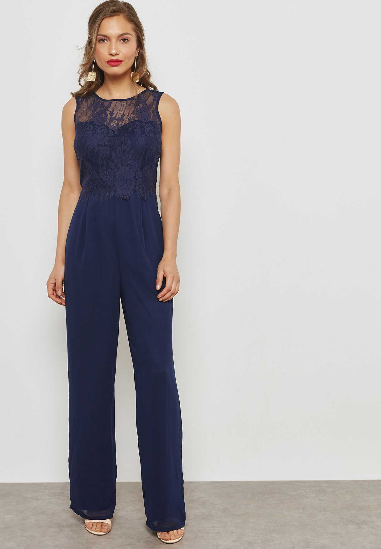 5c57dba94c0 Shop Dorothy Perkins navy Lace Jumpsuit 12618230 for Women in UAE ...