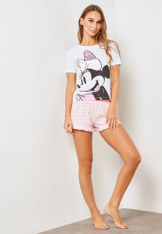 Minnie Mouse Print Short Sleeve T-Shirt & Shorts S