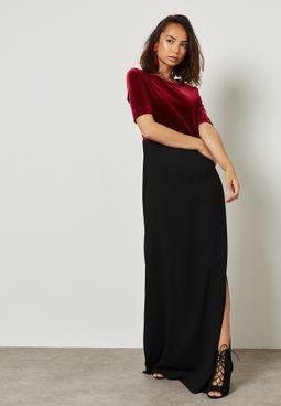 Contrast Side Split Shift Dress