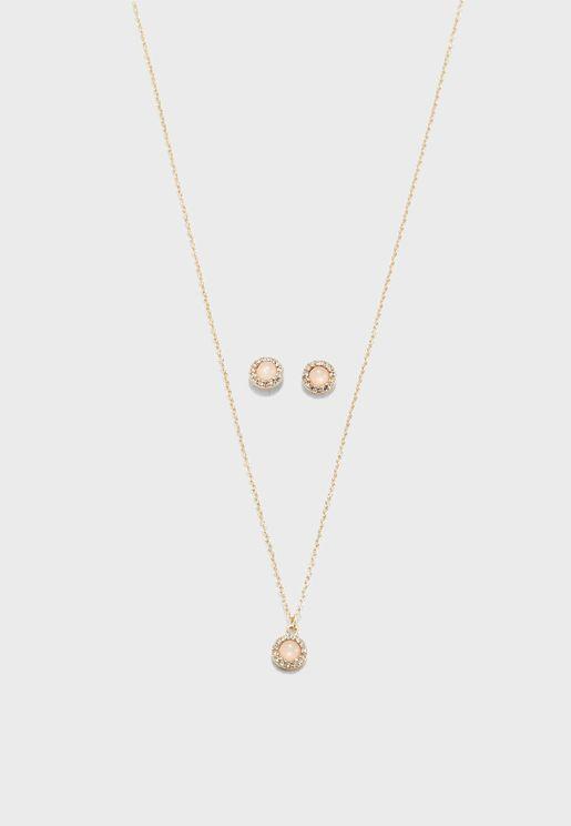 Faux Stone Necklace & Earrings Set