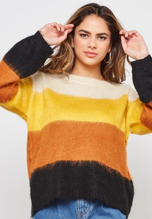 Colourblock Brushed Sweater
