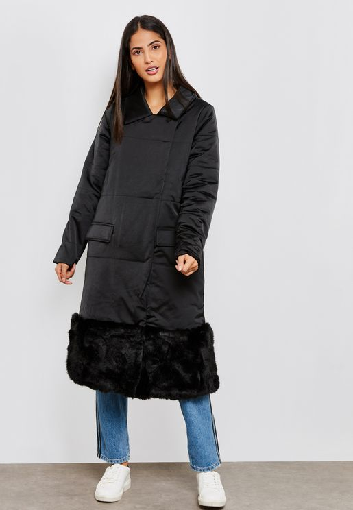 Faux Fur Longline Padded Coat