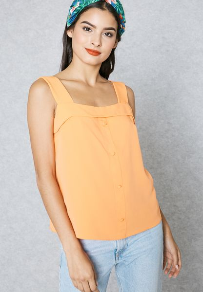 Foldover Button Camisole Top