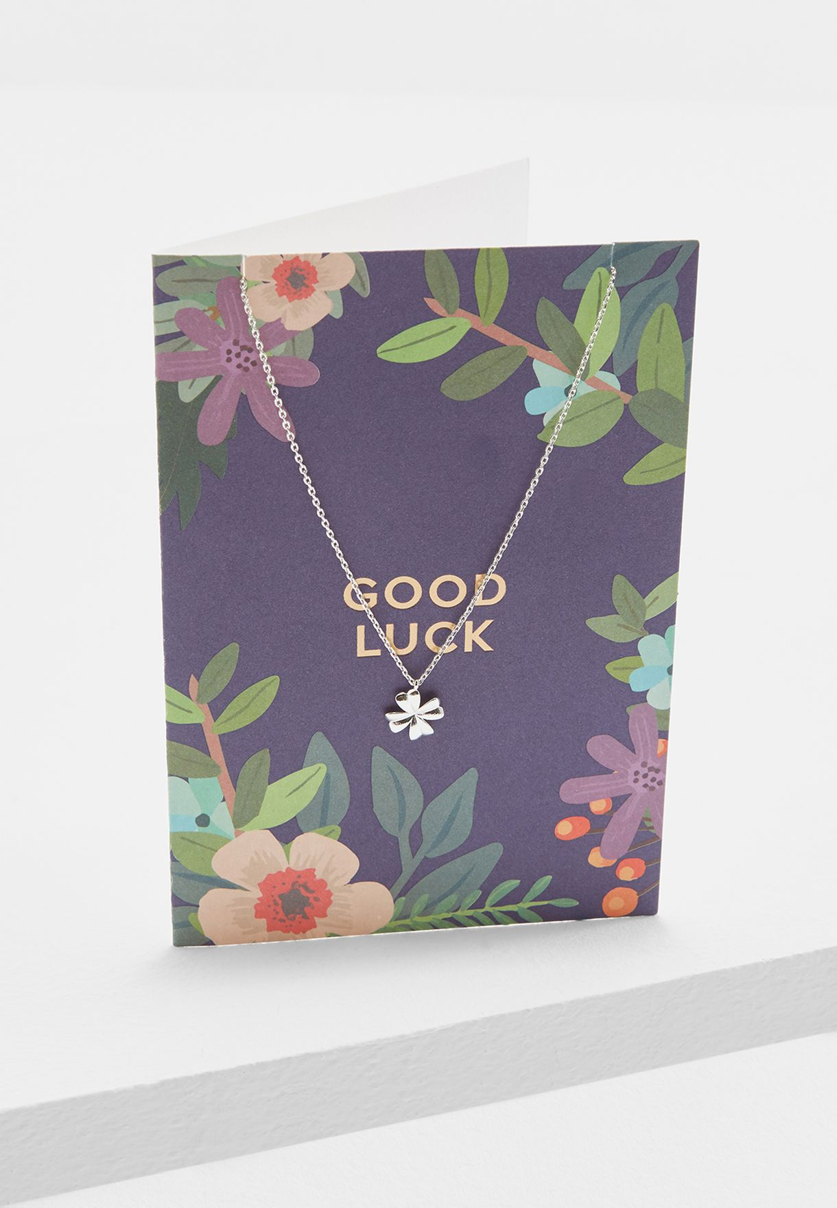 Good Luck Floral Clover Necklace With Giftcard