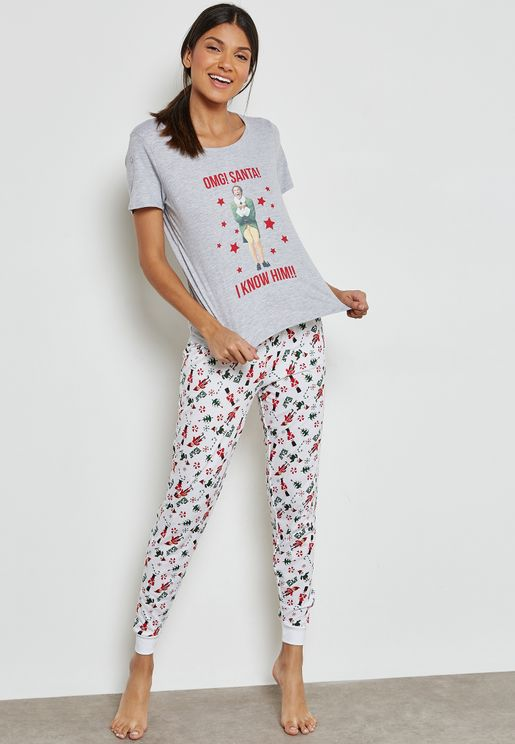 Christmas Slogan T-Shirt & Pyjama Set