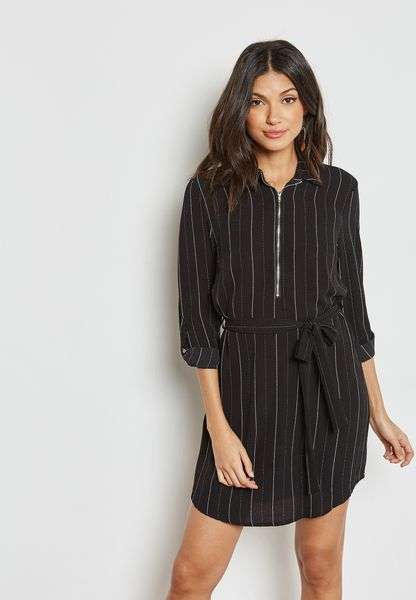 Zip Print Shirt Dress