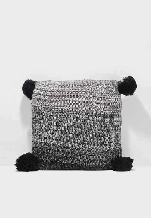 Knitted Pom Pom Cushion Insert Included