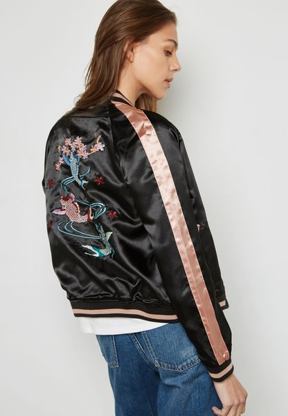 Embroidered Back Bomber Jacket
