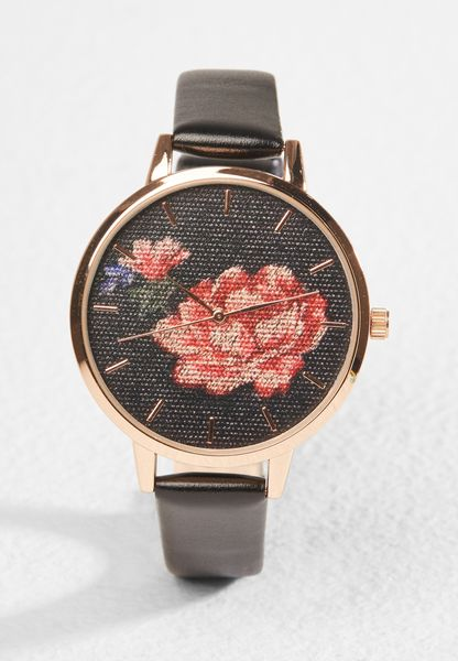 Emb Floral Dial Watch