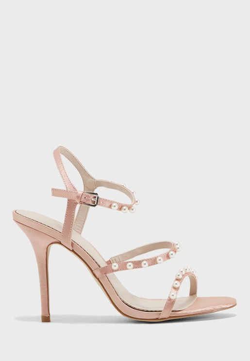 Audrey Strappy Pearl Trim Heels