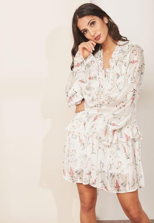 Printed Drop Waist Dress