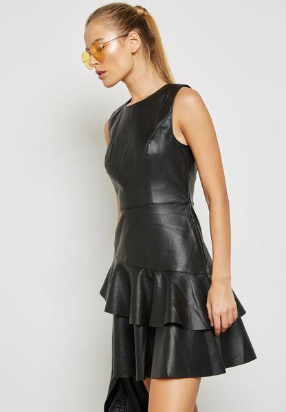 PU Frill Detail Mini Dress