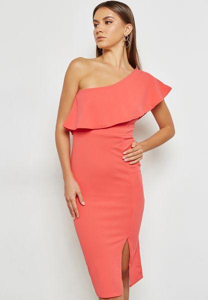 One Shoulder Ruffle Bodycon Dress