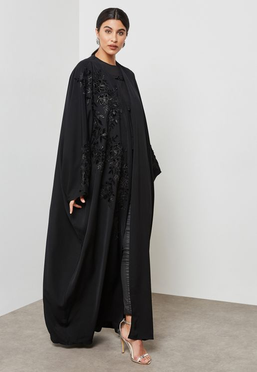 One Side Embroidered Abaya