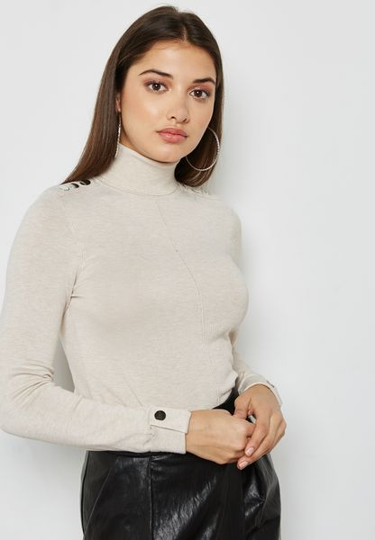 Studded Polo Neck Sweater