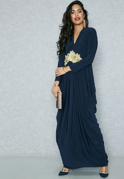 Embrodered Waist Side Drape Dress