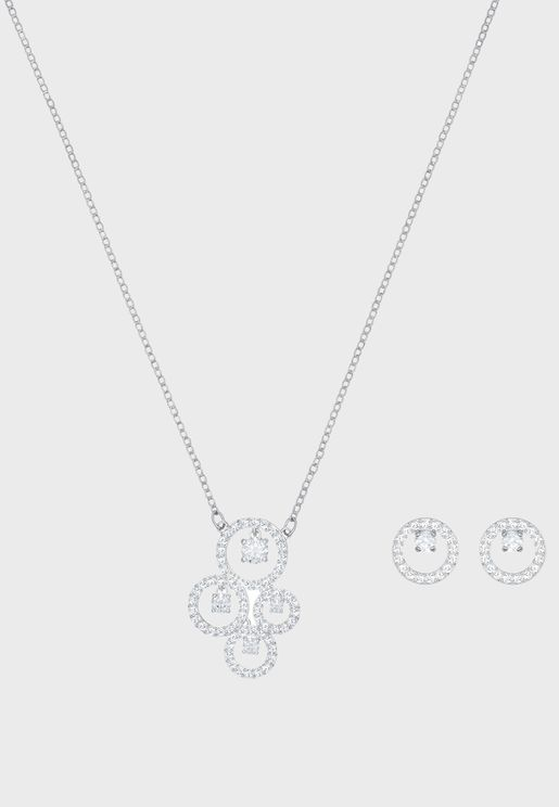 Creativity Cz Necklace + Earrings Set