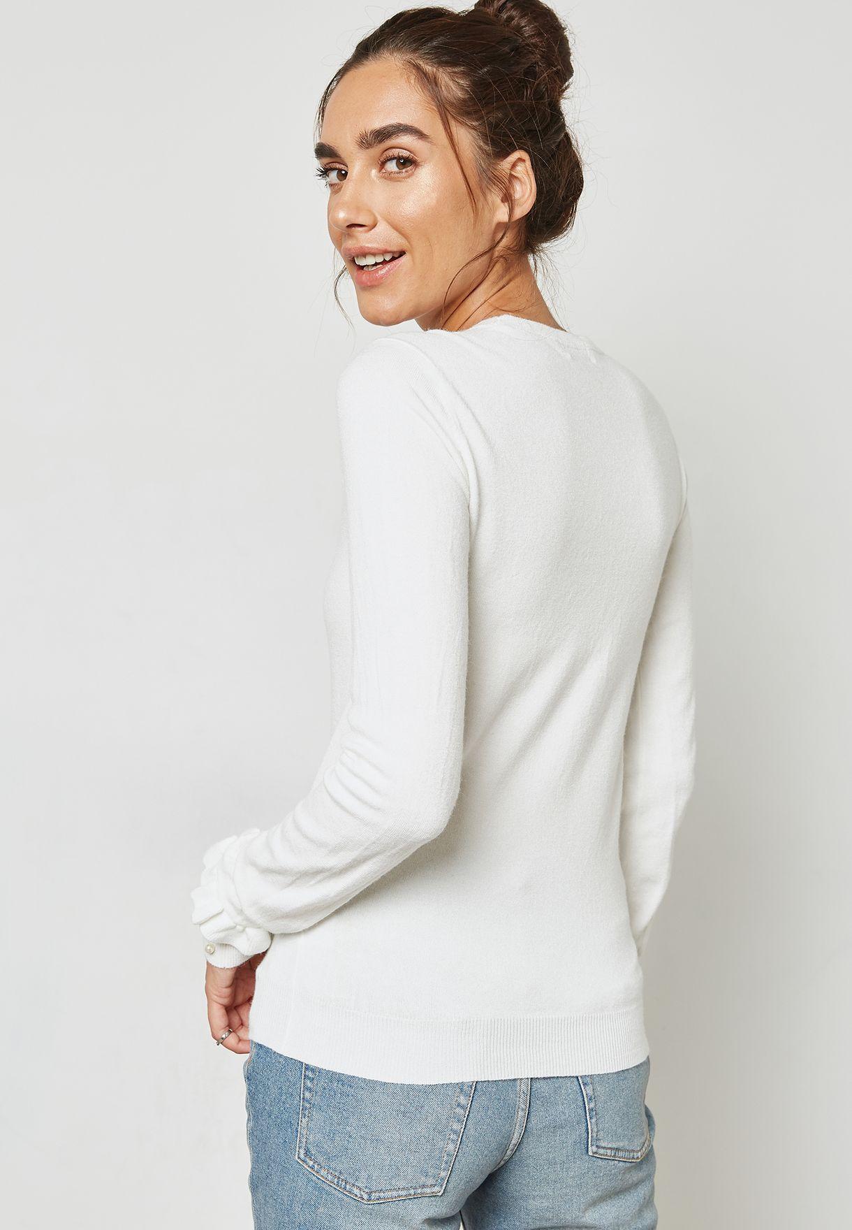 Pearl Cuffed Sweater