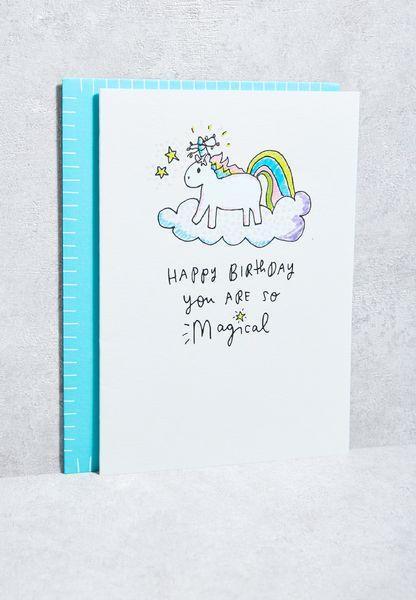 Magical Unicorn On Cloud Card