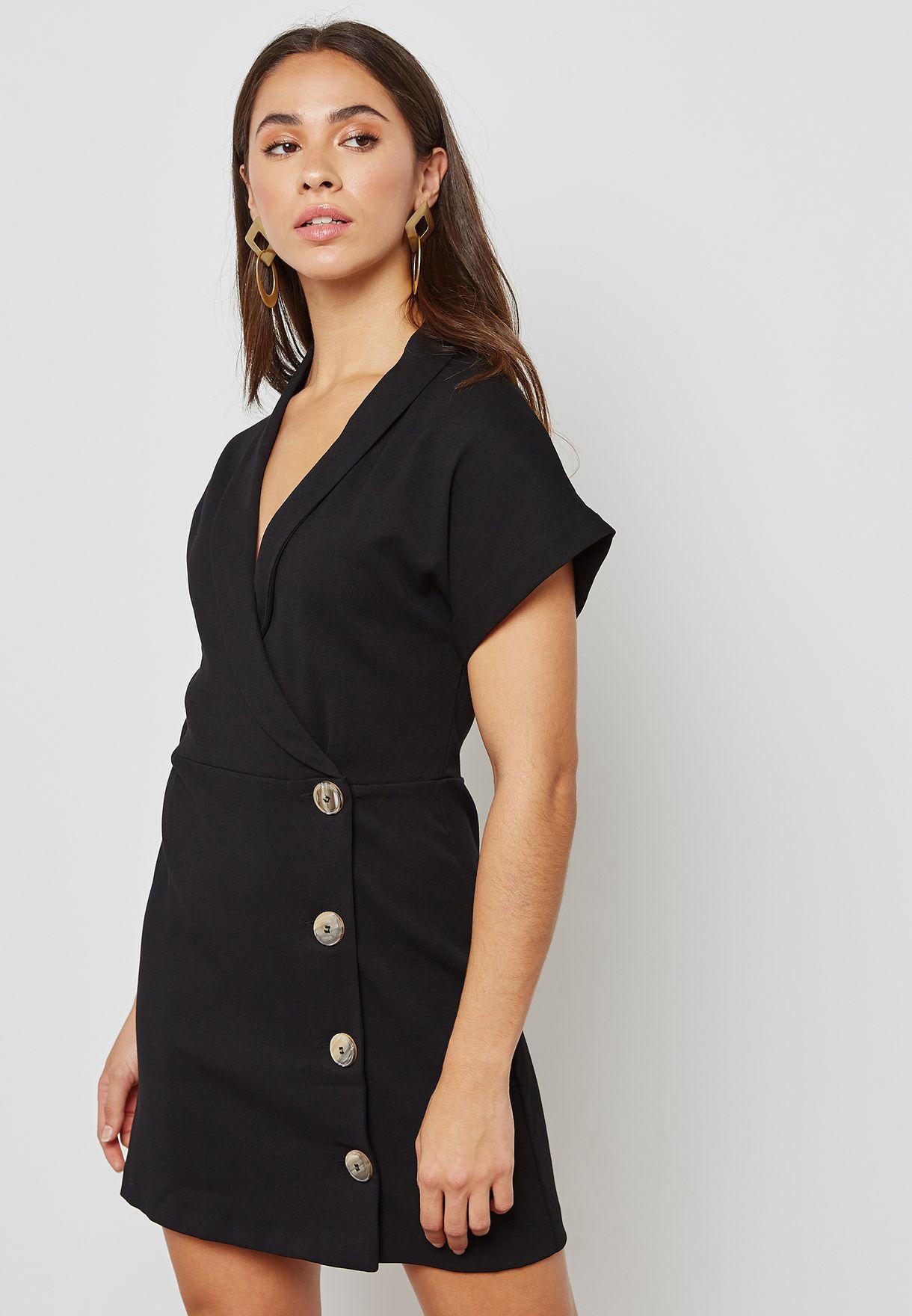 fc9c94f00d869 تسوق فستان بنمط لف ماركة مانجو لون أسود 23027037 في قطر - MA887AT46JKN