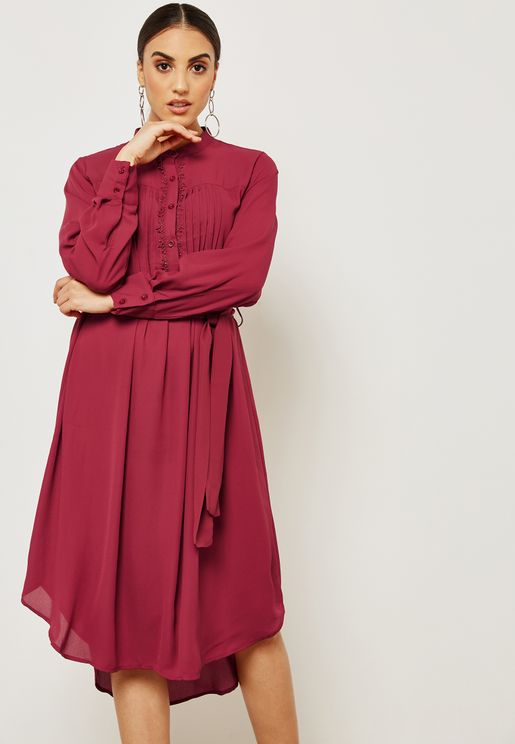 Pleated Lace Detail Shirt Dress