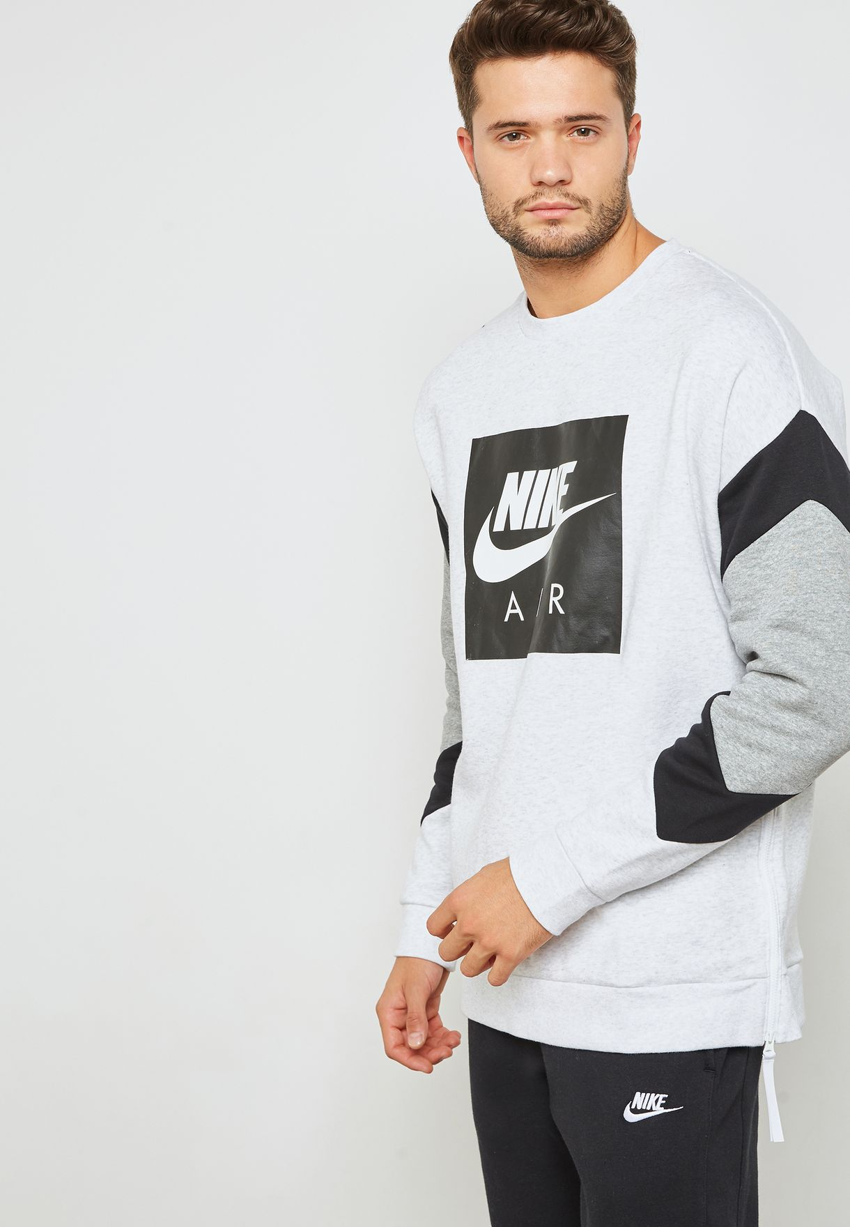 9fcdeace46f3 Shop Nike grey Air Fleece Sweatshirt 928635-051 for Men in UAE ...