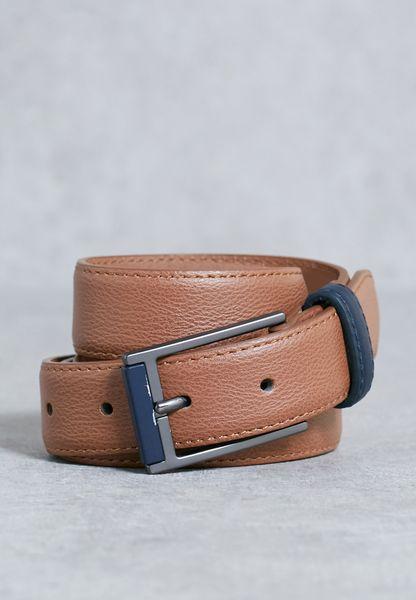 Tan Navy Tipped Belt