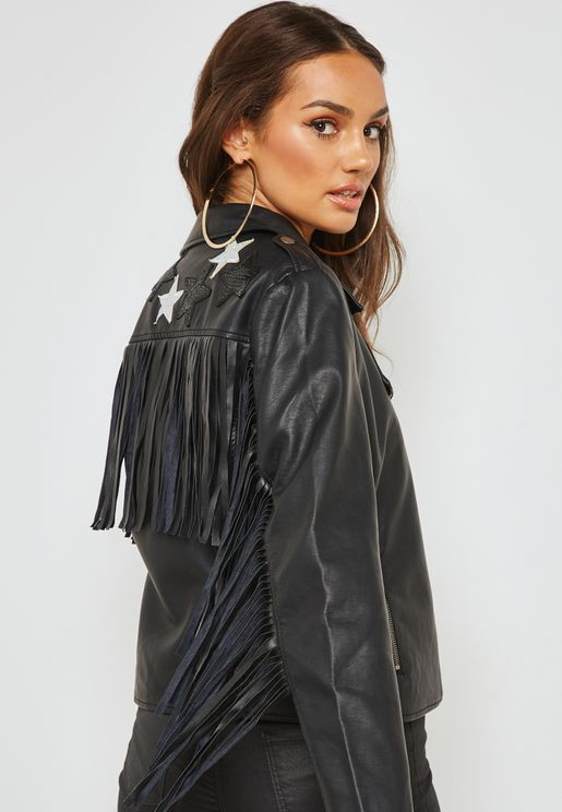 PU Embellished Fringed Biker Jacket