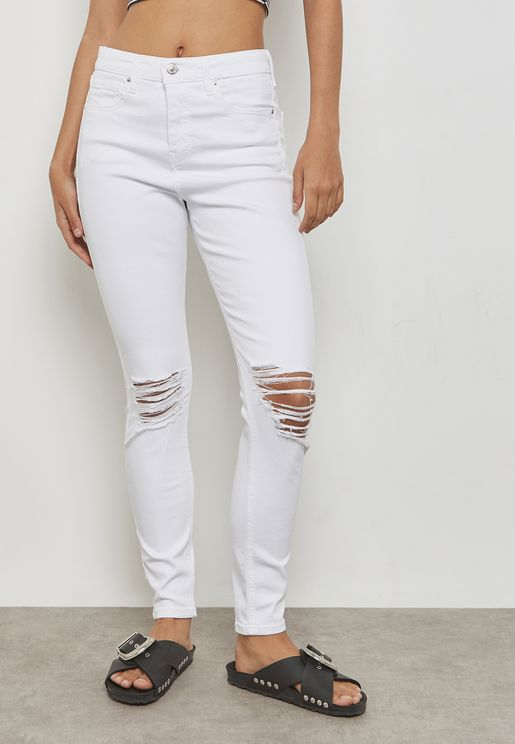 MOTO Jamie High Rise Ripped Skinny Jeans