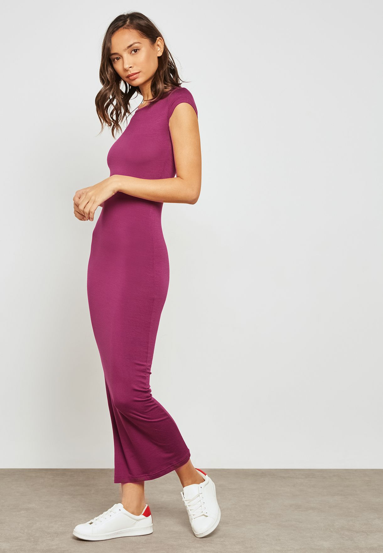 609832acd5 Shop Ginger Basics purple Bodycon Maxi Dress 02111705 for Women in ...