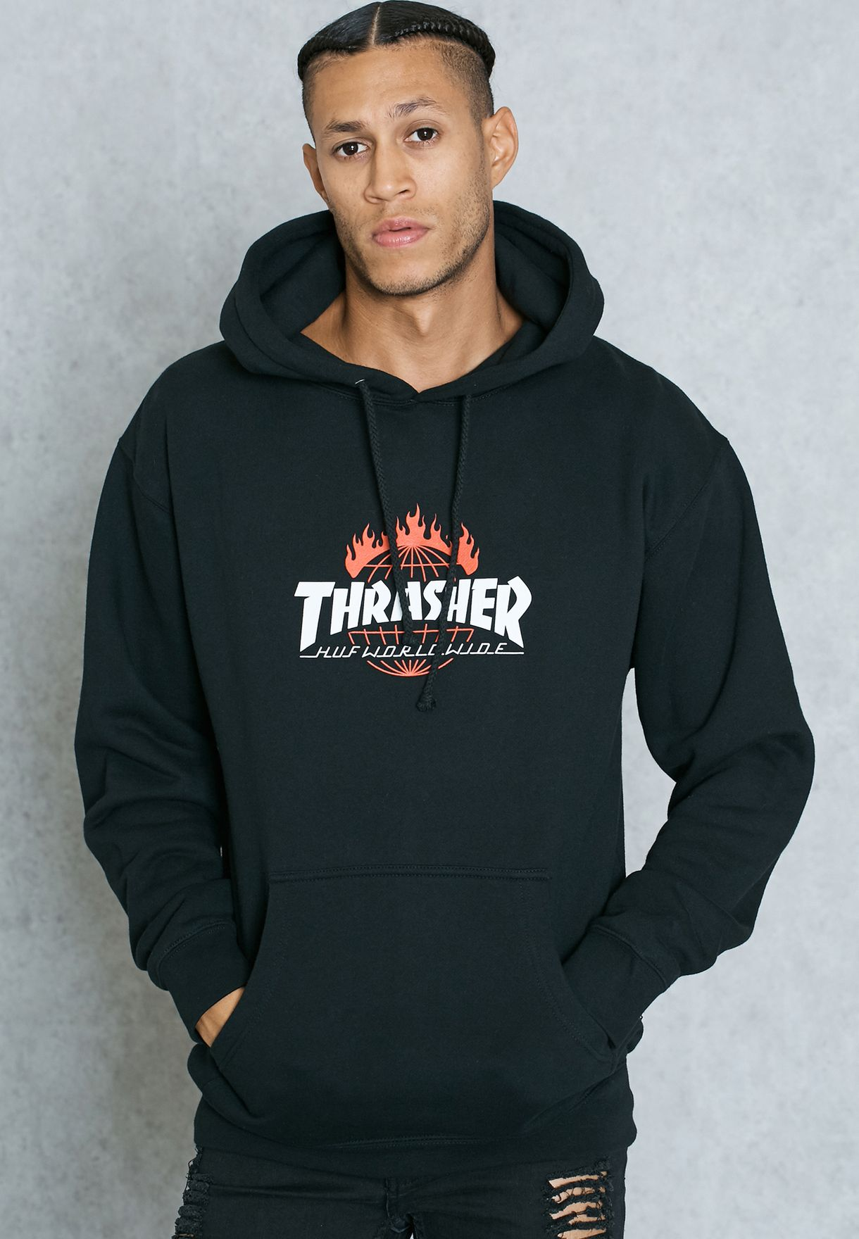 Shop HUF black Thrasher TDS Hoodie for Men in UAE - HU990AT46IIZ 60eb21354