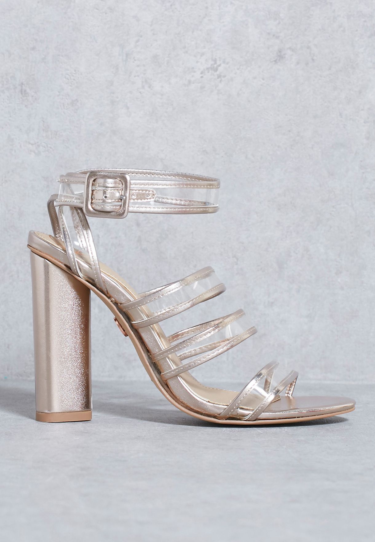 0ad4ac25147 Shop Missguided gold Rose Gold Clear Multi Strap Block Heeled ...
