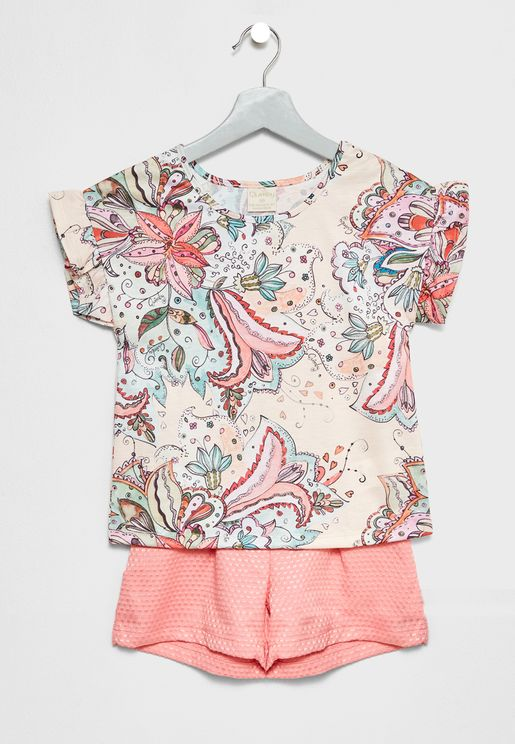 Little Printed Top + Shorts Set