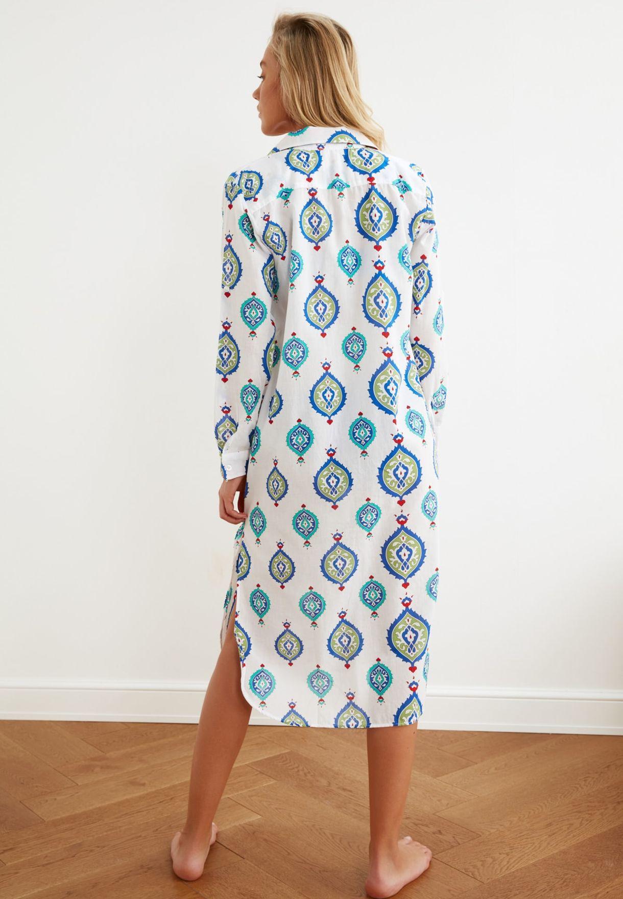 Pocket Detail Printed Kimono