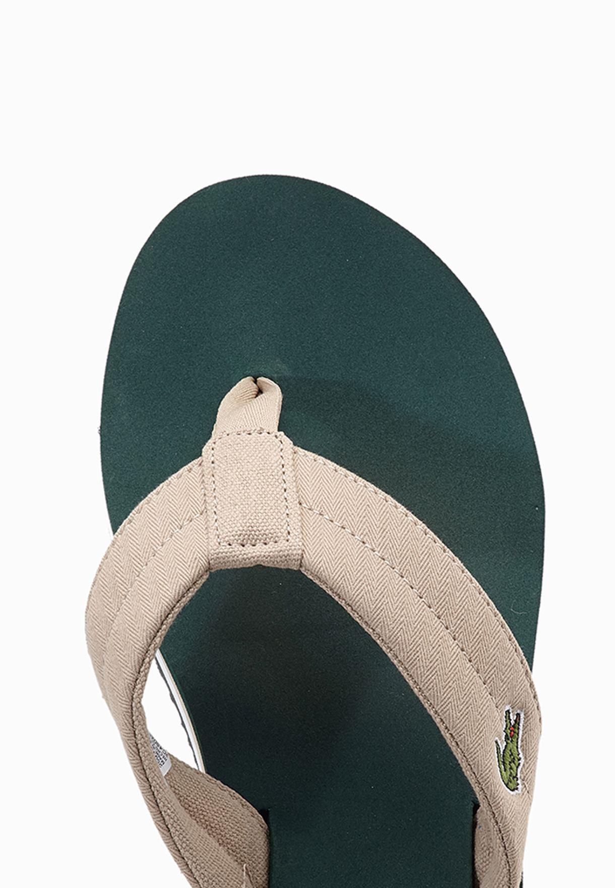 1b4d4226f Shop Lacoste green Randle TBR Flip Flops 29SPM0041-1R8 for Men in ...