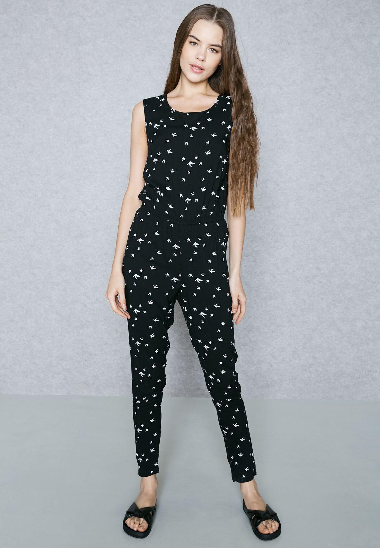 bfe2a660bd8 Shop Jacqueline De Yong black Printed Jumpsuit 15129466 for Women in  Bahrain - JA609AT46AWR