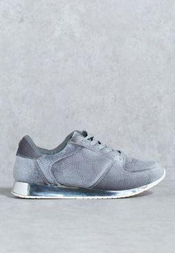Velvet Embossed Sneaker With Metallic Sole