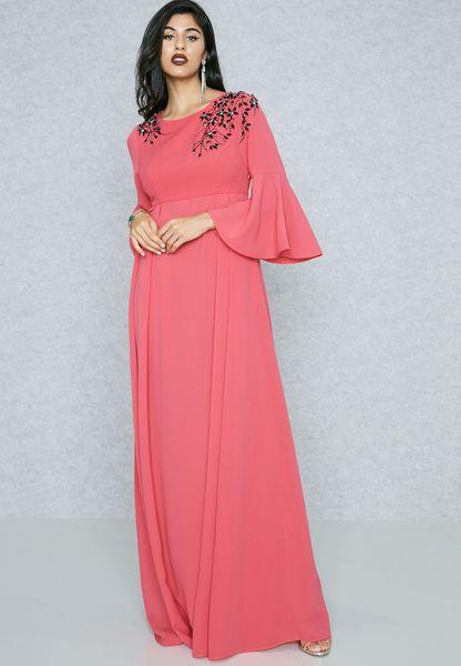 Embellished Yoke Flute Sleeve Dress