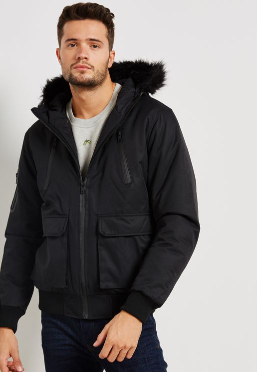 Short Padded Parka Fur Trimmed Hood