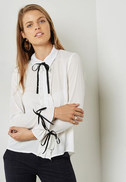 Contrast Tie Neck Ruffle Detail Shirt